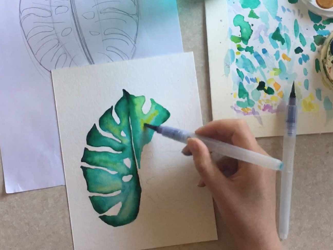 Watercolour Monstera Leaf Tutorial Happy Paintings Plant Art