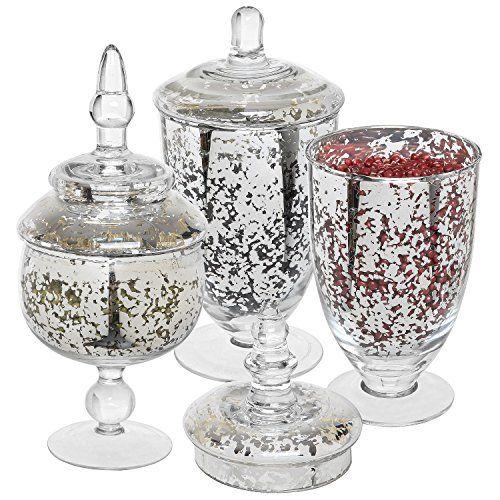 Decorative Mercury Silver Glass Apothecary Jars Wedding