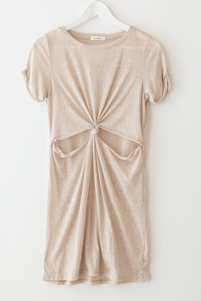 """Minimal light oatmeal colored t-shirt dress with a cut-out front knot and short cuffed sleeves. Made with soft and semi-sheer speckled knit material. Size small measures approx. 33"""" in length. Semi-loose fit.  58% Polyester 38% cotton 12% Rayon Made in USA"""