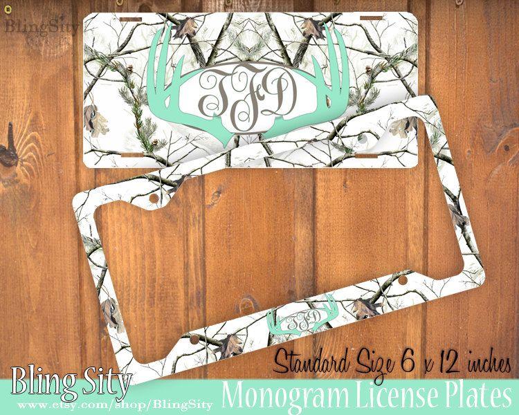 Mint White Camo Antlers Monogram License Plate Frame Holder Deer ...