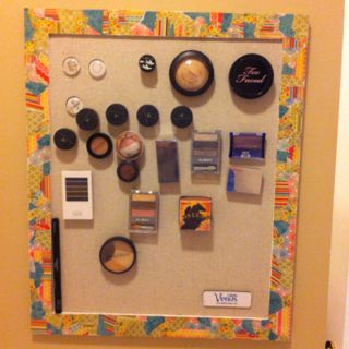 Magnetic makeup board. I love the outcome but had a rough start!  I swear it felt we went everywhere looking for the items we needed.  In the end, Michael's, Hancock fabrics, and Home Depot were the only places we needed to go.  Next time we will know!  We used mod podge and scrapbook paper on an inexpensive frame from Michael's. The magnetic board is a $6.00 galvanized steel sheet from Home Depot. Lowe's had them also but they were too expensive. We covered the steel with adhesive spray and…