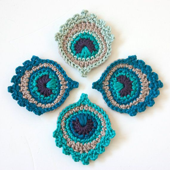 Crochet PATTERN Small Peacock Feather Motif Applique Garland - Great ...