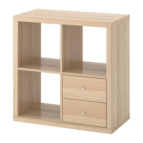 Ikea Regal Kallax kallax scaffale con cassetti effetto rovere mordente bianco