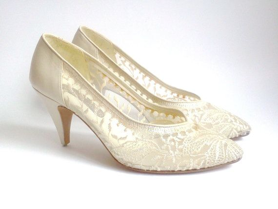 Vintage Wedding Shoes Roland Cartier Beige Lace And By Cakenumber9 65 00