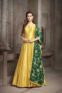 49f1918fba0a Show details for Glossy yellow dress with green dupatta | health in ...