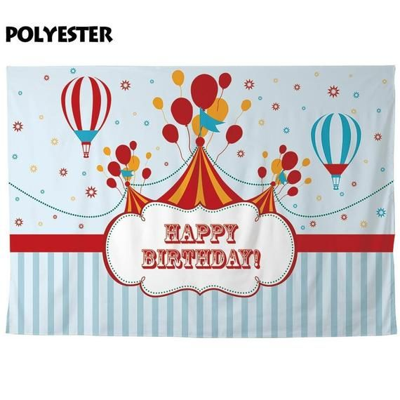 Photo of Custom Personalized backdrop photo shoots birthday circus baby balloons blue stripes photography pho