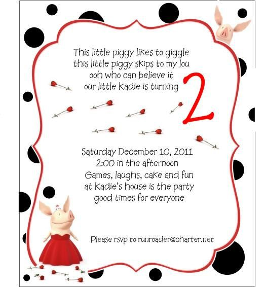 Olivia the Pig Children Birthday Invitation- Customize for your - birthday invitation letter sample