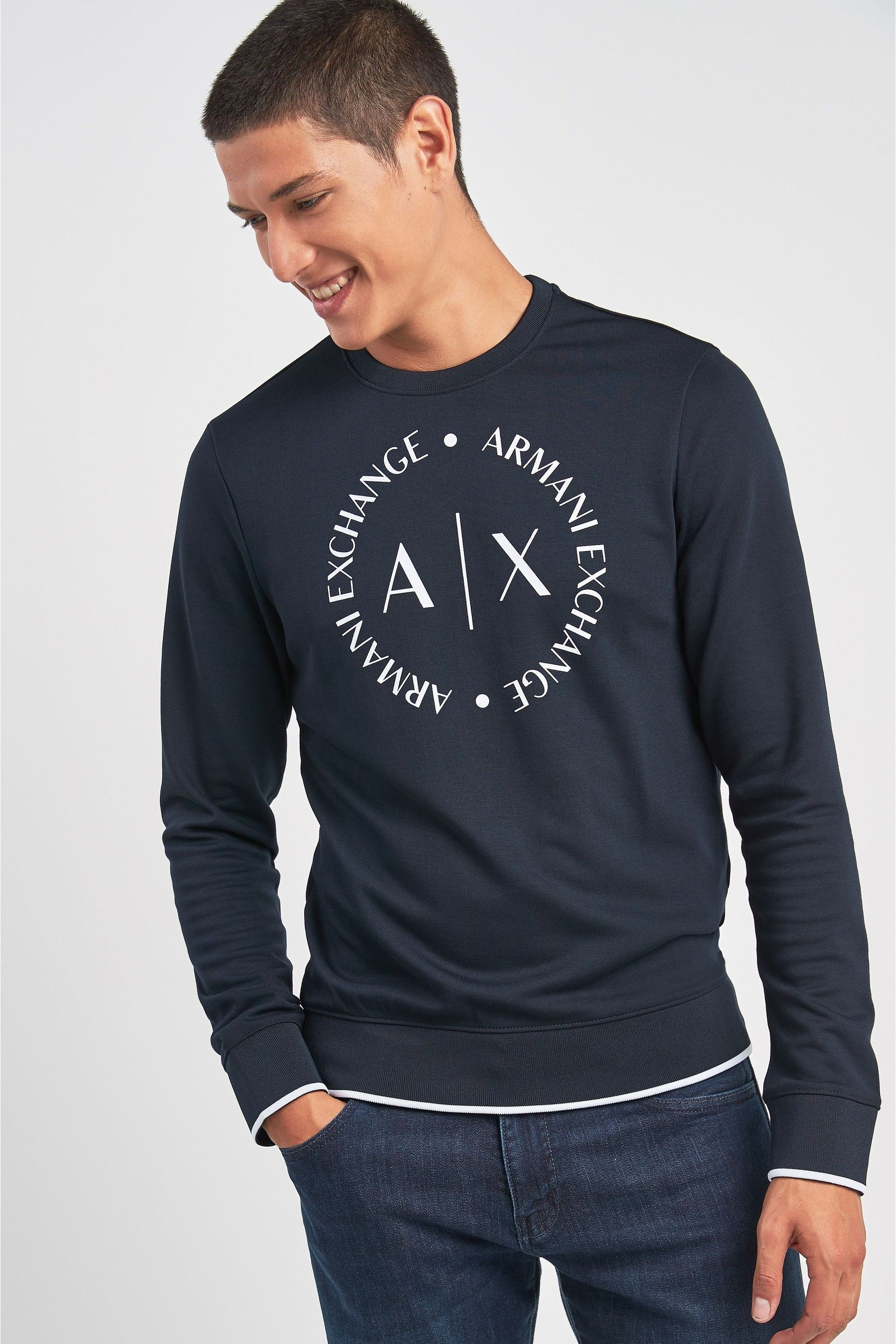 quality products retail prices unique design Mens Armani Exchange Navy AX Logo Sweat - Blue | Products in ...