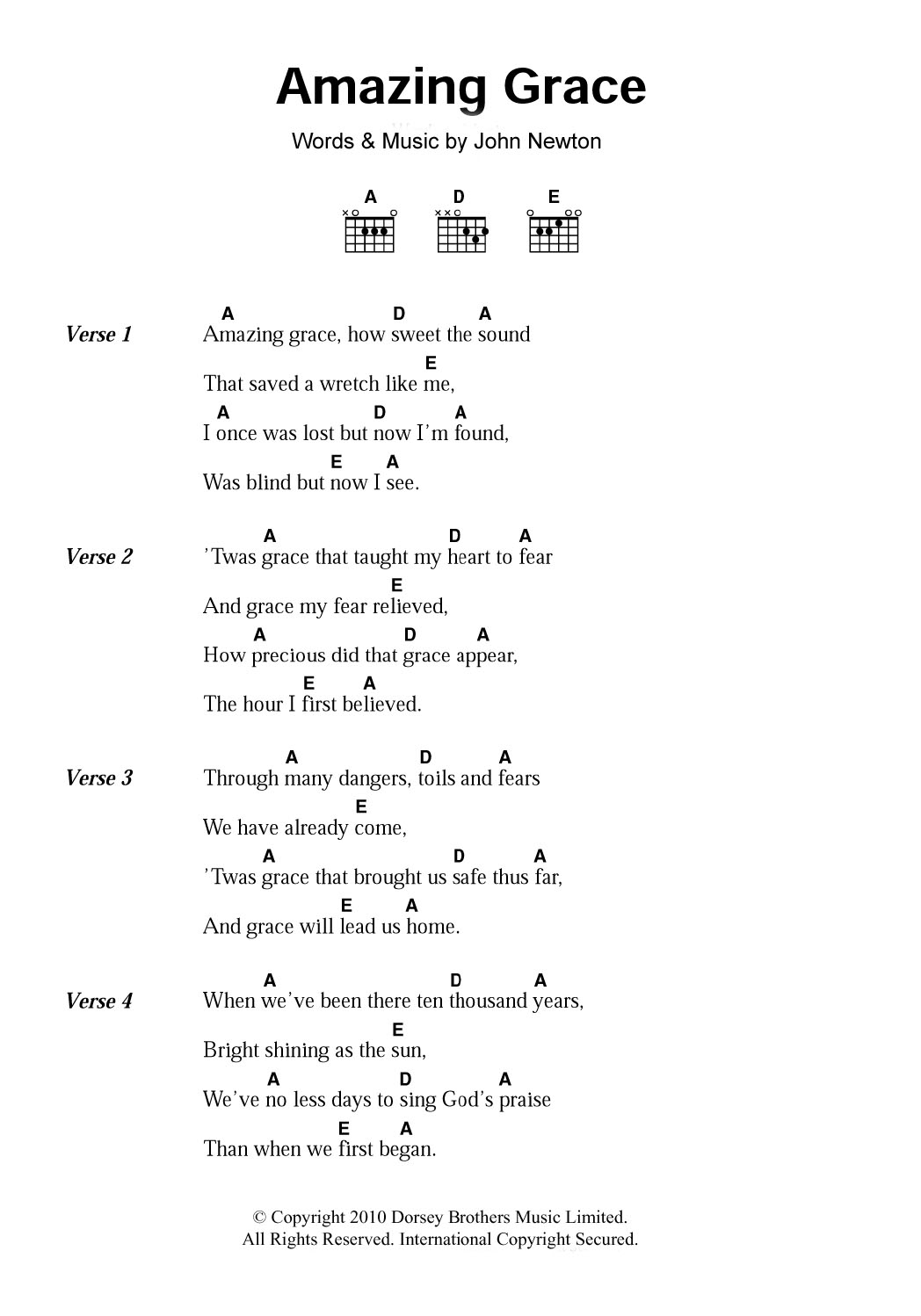 amazing grace by traditional guitar chords lyrics   Guitar chords ...
