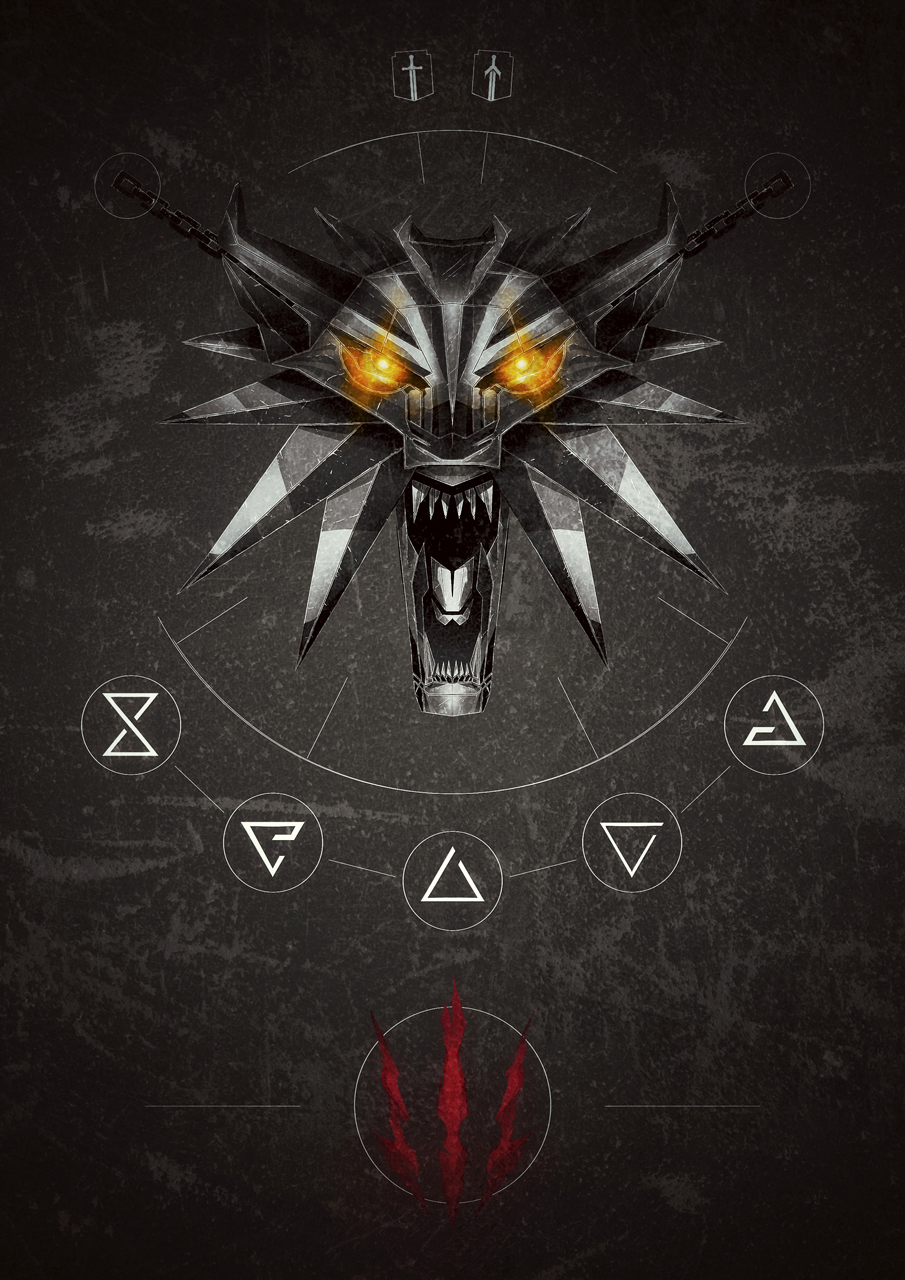 The Witcher 3 Wild Hunt Inspired Poster With The Wolf School Medallion And Primary Combat Tools Available Witcher Wallpaper Wallpapers Criativos Ilustracoes