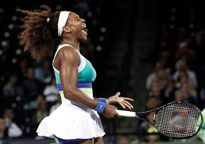 Serena Williams of the U.S screams after losing a point to Poland's Agnieszka Radwanska in their women's singles semi-final match at the Sony Open tennis tournament in Key Biscayne, Florida March 28, 2013. REUTERS/Andrew Innerarity