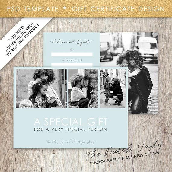 Photography Gift Certificate Template - Design #16 - INSTANT - photography gift certificate template