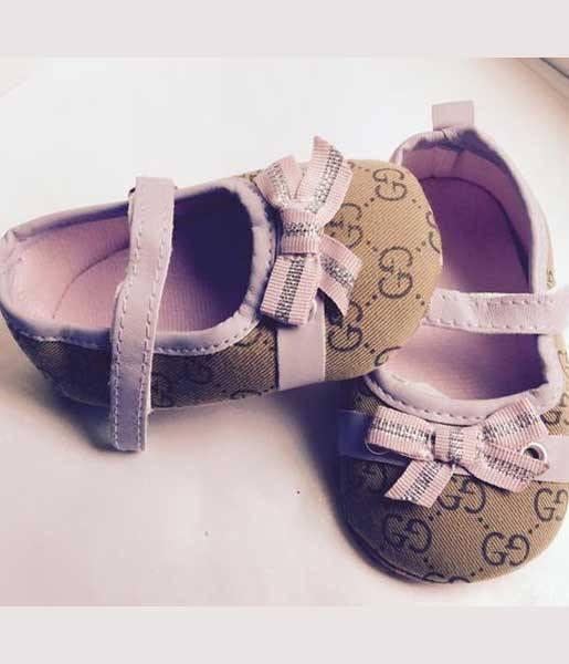 Baby Girl crib shoes , brown and tan