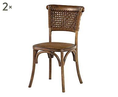 Dalani sedie ~ Set di sedie in olmo e rattan sofie cm dalani home