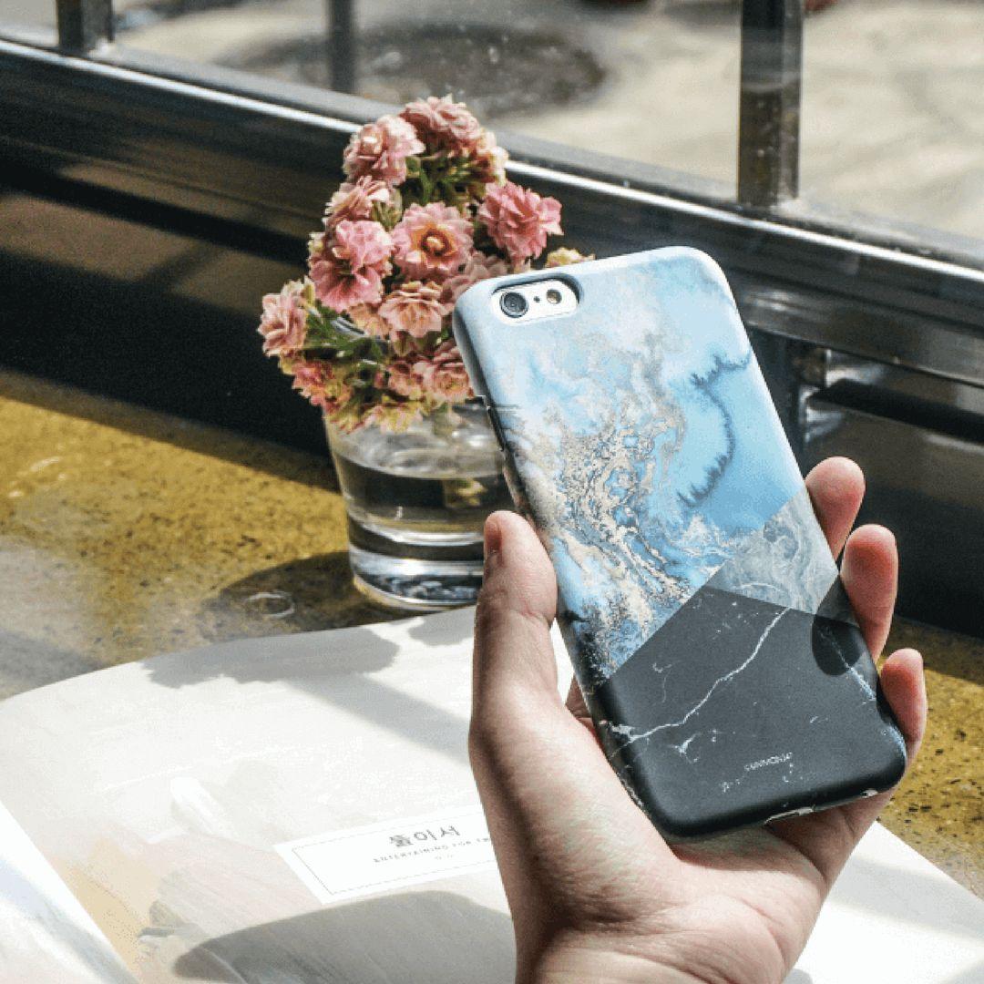 Light Blue Marble Effect Back Phone Case (UN-1718)