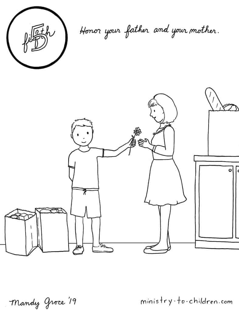 5th Commandment Coloring Page Honor Your Father Mother In 2020