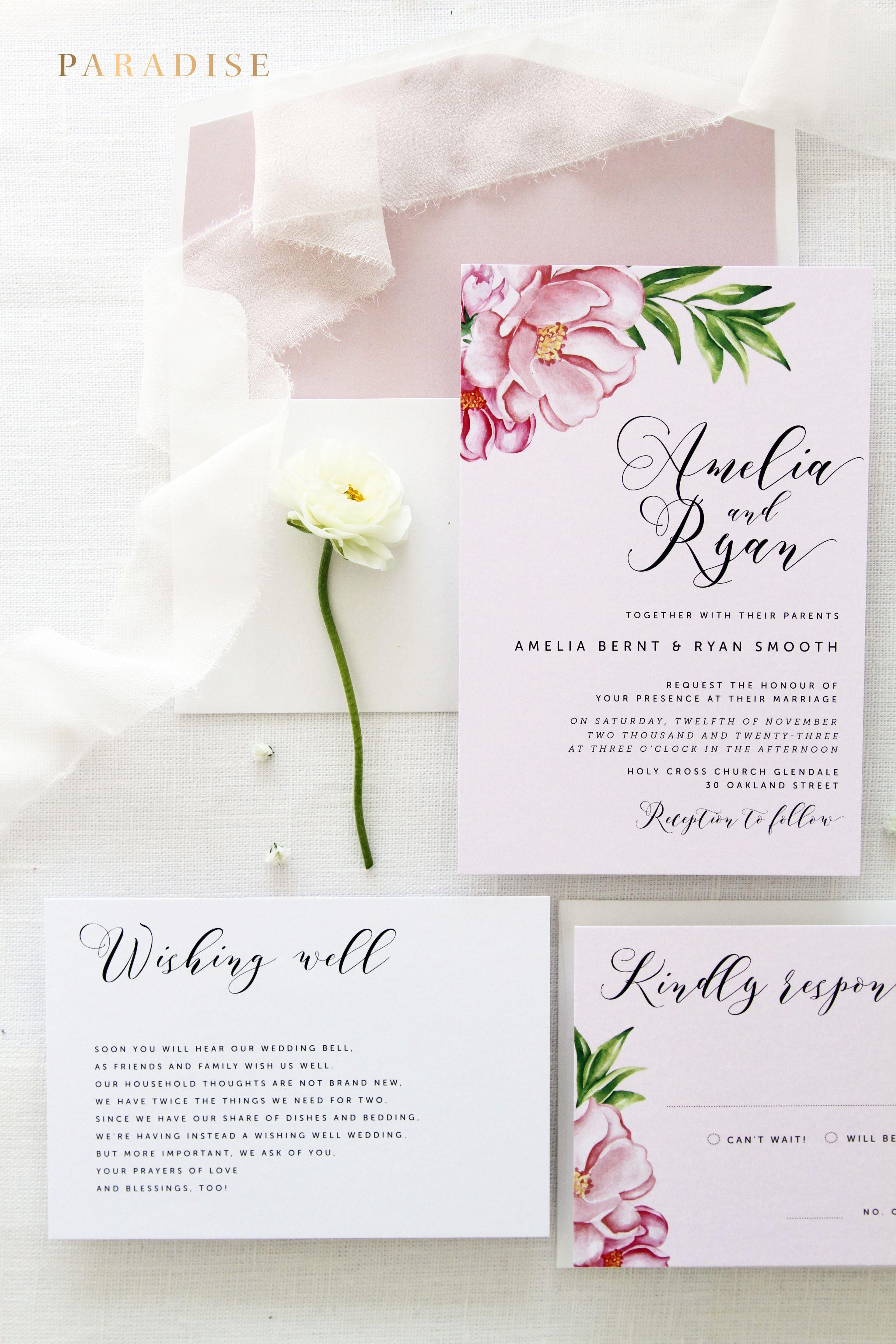 Rosalie Handdrawn Watercolour Flowers Wedding Invitation Sets ...