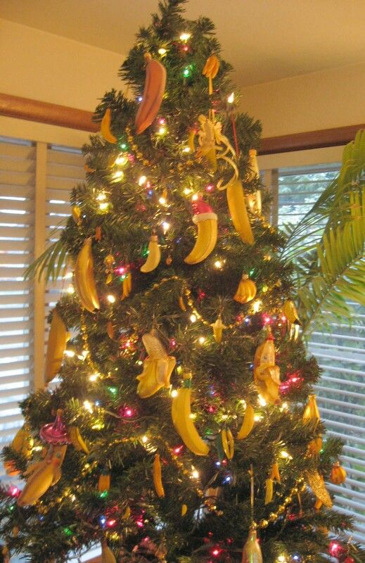 Banana Ornaments On The Christmas Tree Christmas Tree Christmas Tree