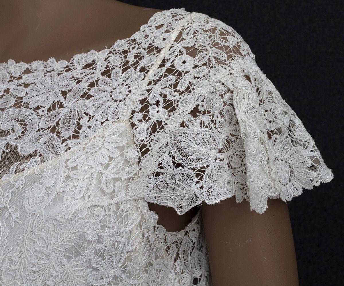 C brussels handmade mixed lace wedding dress at vintagetextile