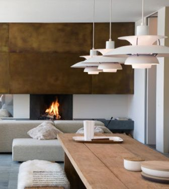 Nice Mix Of Rustic And Contemporary Styling For A Ski Lodge Using Louis Poulsen Light Fixtures At Dining Room Maybe