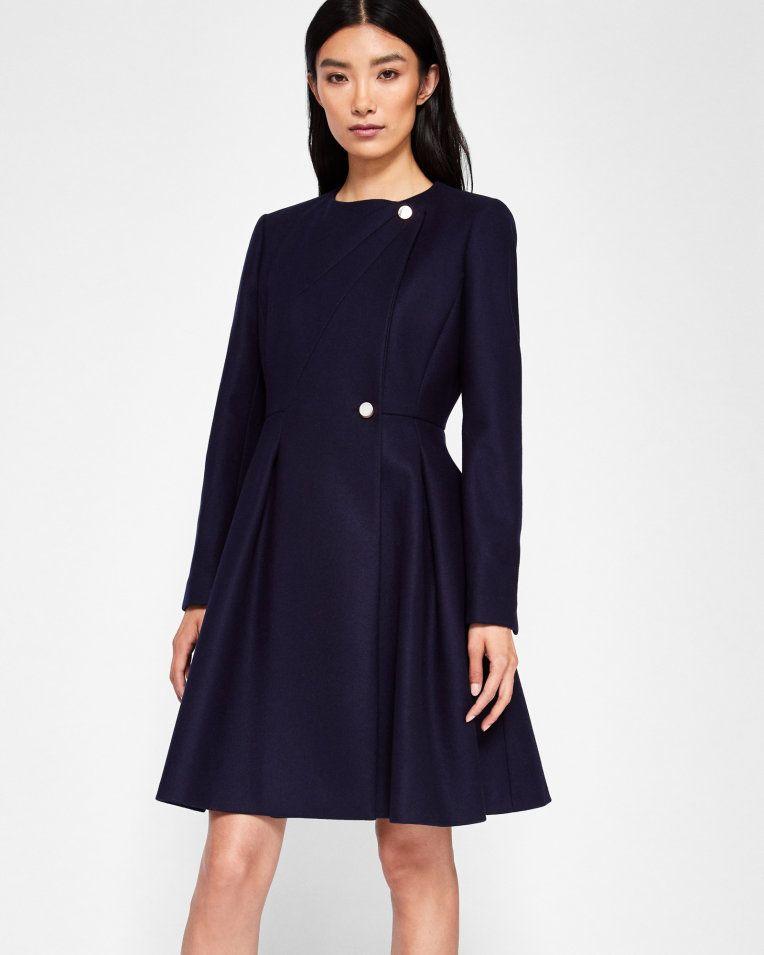 049dedf7219c2 Long pleated coat - Navy