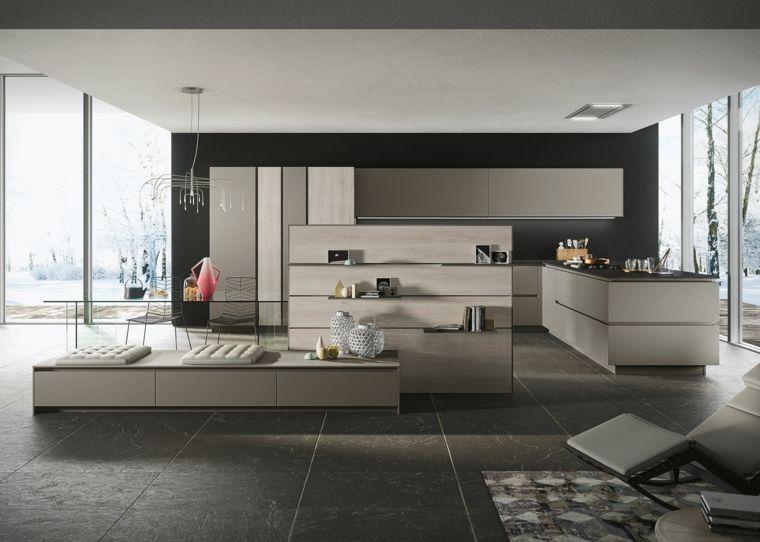 come arredare ambiente unico cucina soggiorno con mobili ...