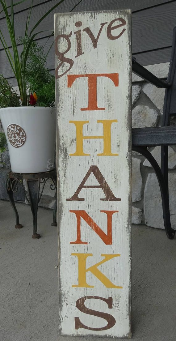 Give Thanks Sign Fall Wood Crafts Hand Painted Wood Sign Fall Wood Signs