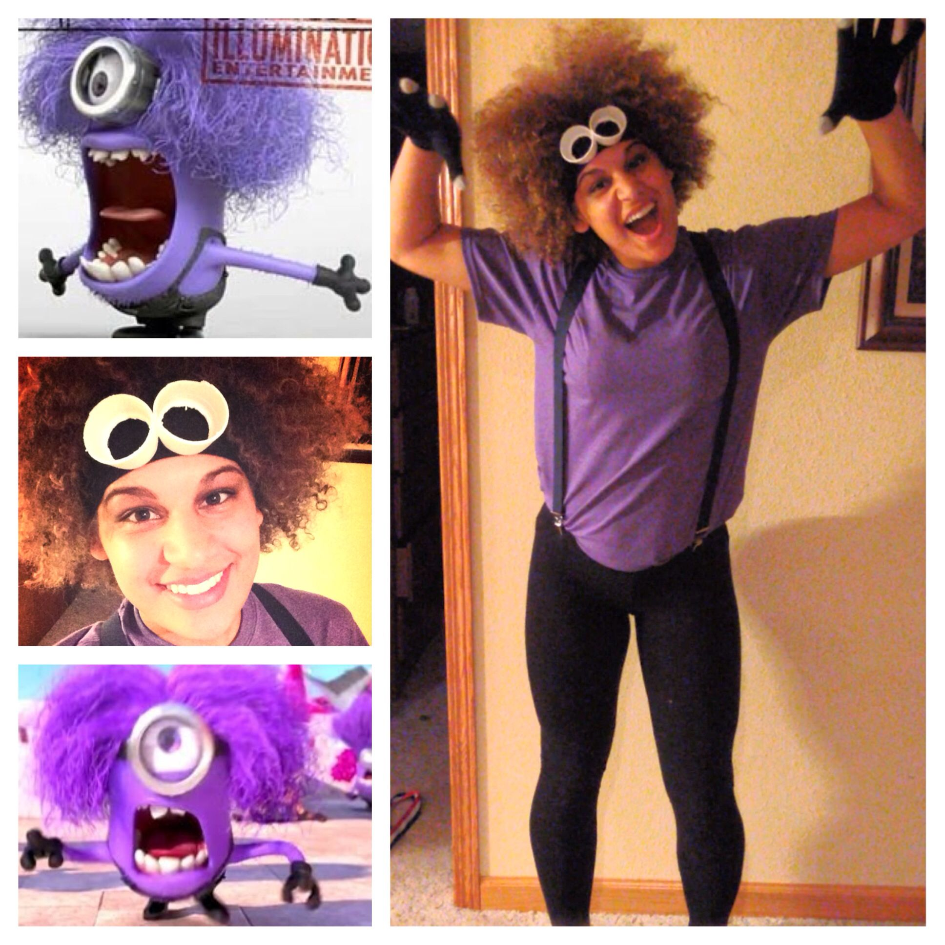One Way To Utilize Your Hair For Halloween Purple Minion Purple Minion Costume Minion Costumes Purple Minions