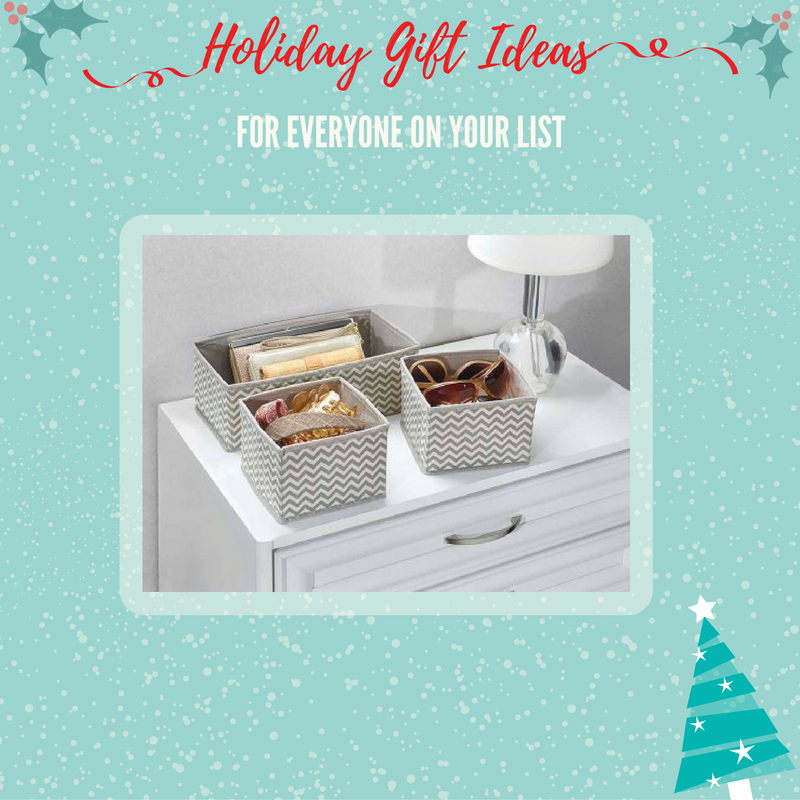 Give the gift of organization! This set of 3 fabric organizer bins is perfect for the person on your list that may need a little help with their clutter.