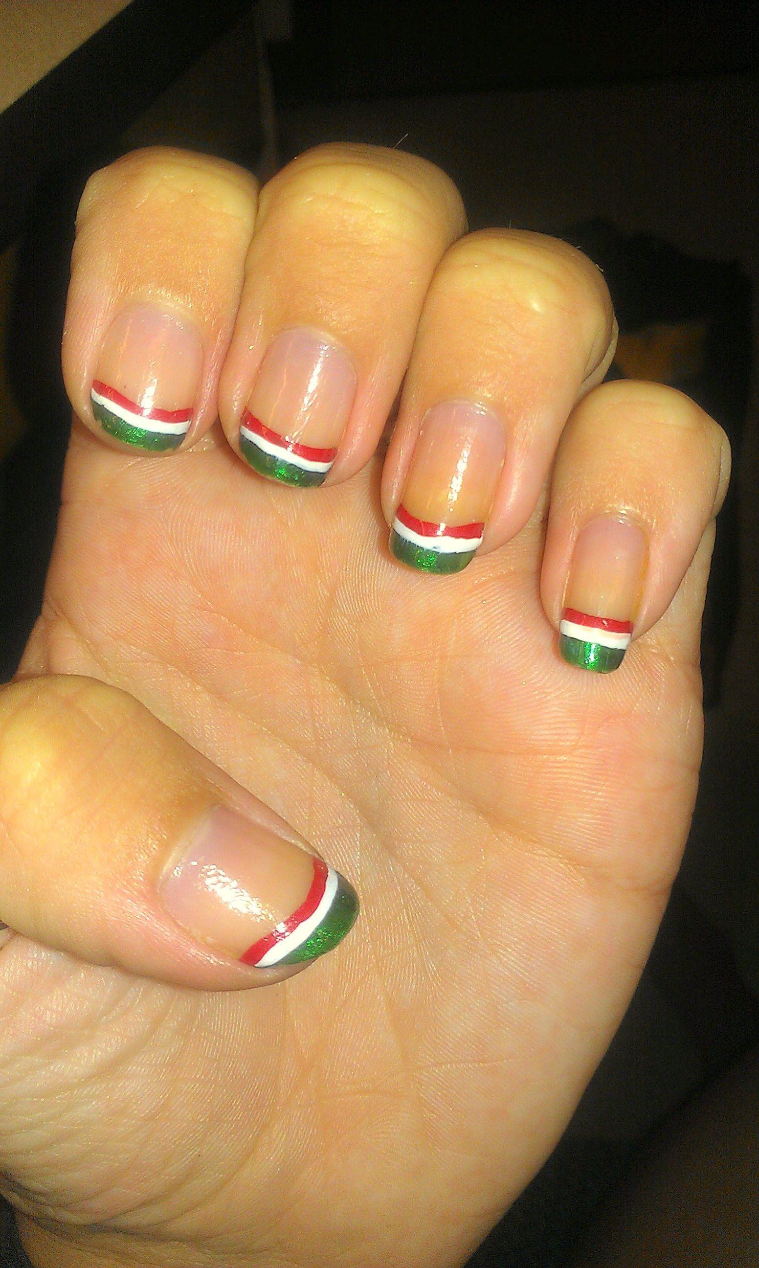 Mexican Flag Cinco De Mayo Nail Art My Nails Pinterest Mexican