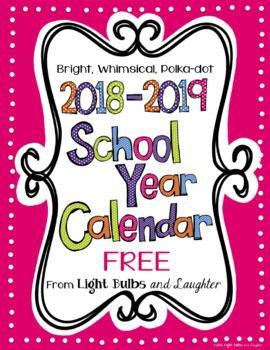 Editable Free Bright Polka Dot Monthly Calendars 2018 2019 School