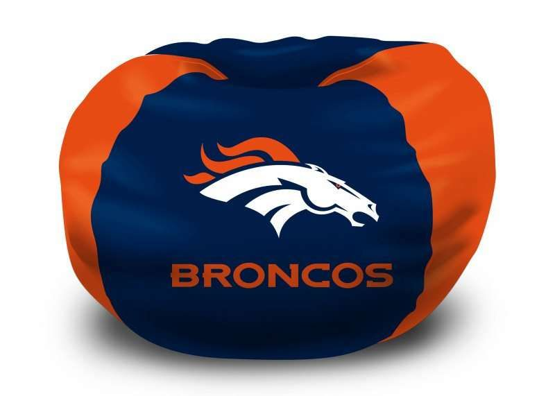 Denver Broncos NFL Bean Bag Chair Is Perfect For Bedroom Living Room Or Any Has A Soft Comfortable Feel That Contours Whatever Fit You Need