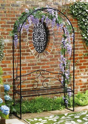 Black Metal Garden Arch Trellis With Bench With Images Arch