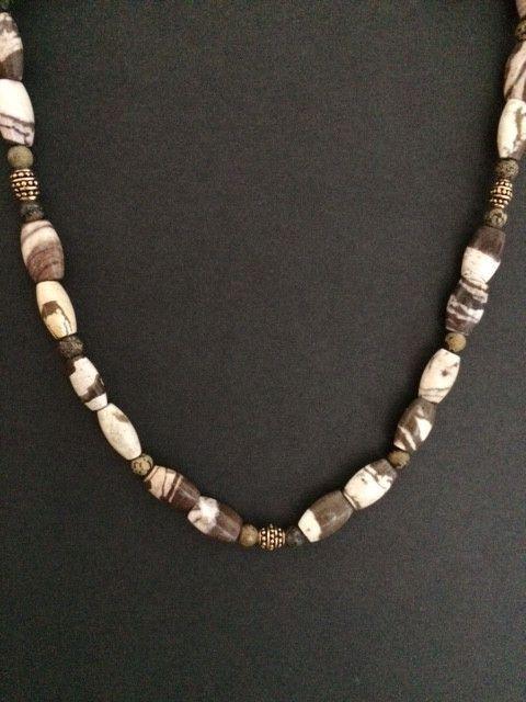 Mens Zebra Jasper and Landscape Stone Necklace