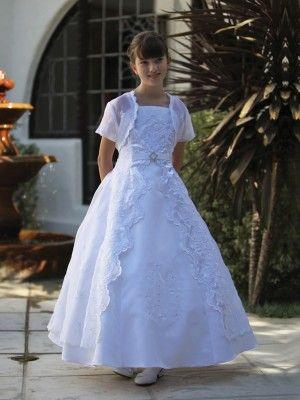 White Gorgeous Satin Full Length Communion Flower Girl Dress