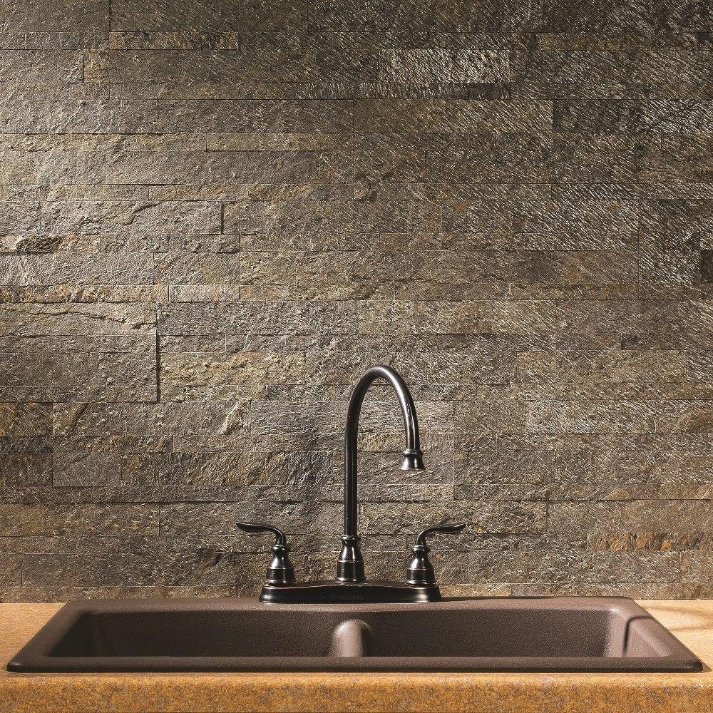 Aspect 6 x 24-inch Mossy Quartz Peel and Stick Stone Backsplash (6 x ...