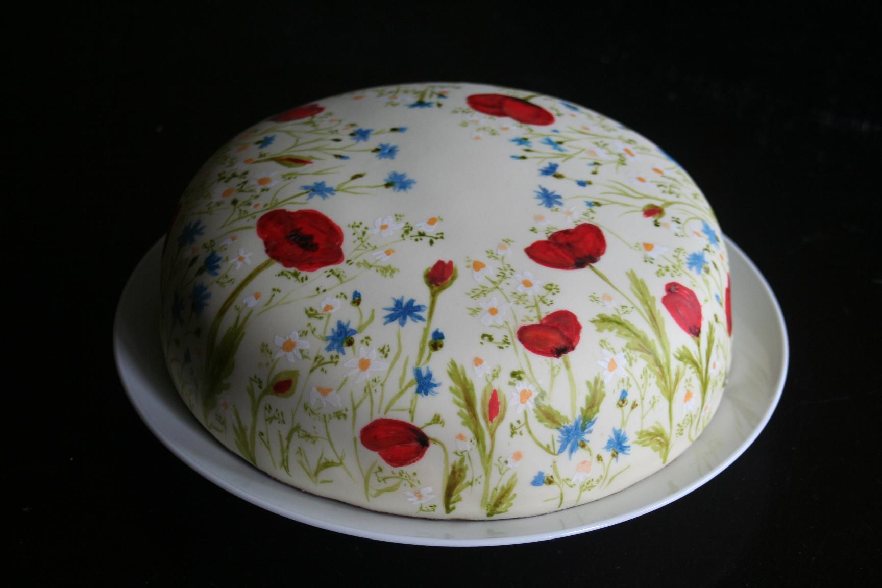 fondant torte mit gemalten wiesenblumen fondant cake with painted wild flowers meine torten. Black Bedroom Furniture Sets. Home Design Ideas