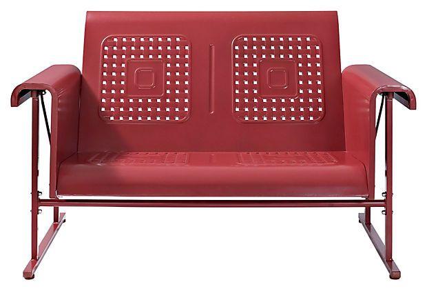 Veranda Love Seat Glider Coral Red On Onekingslane Com Love Seat Outdoor Furniture Sale Patio Loveseat