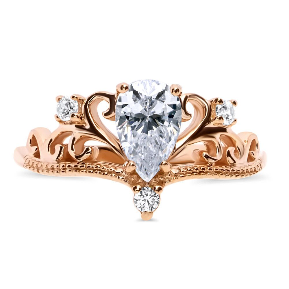 60412c02d Berricle Rose Gold Over Silver Cz Crown Filigree Milgrain Promise Ring 0.9  Carat
