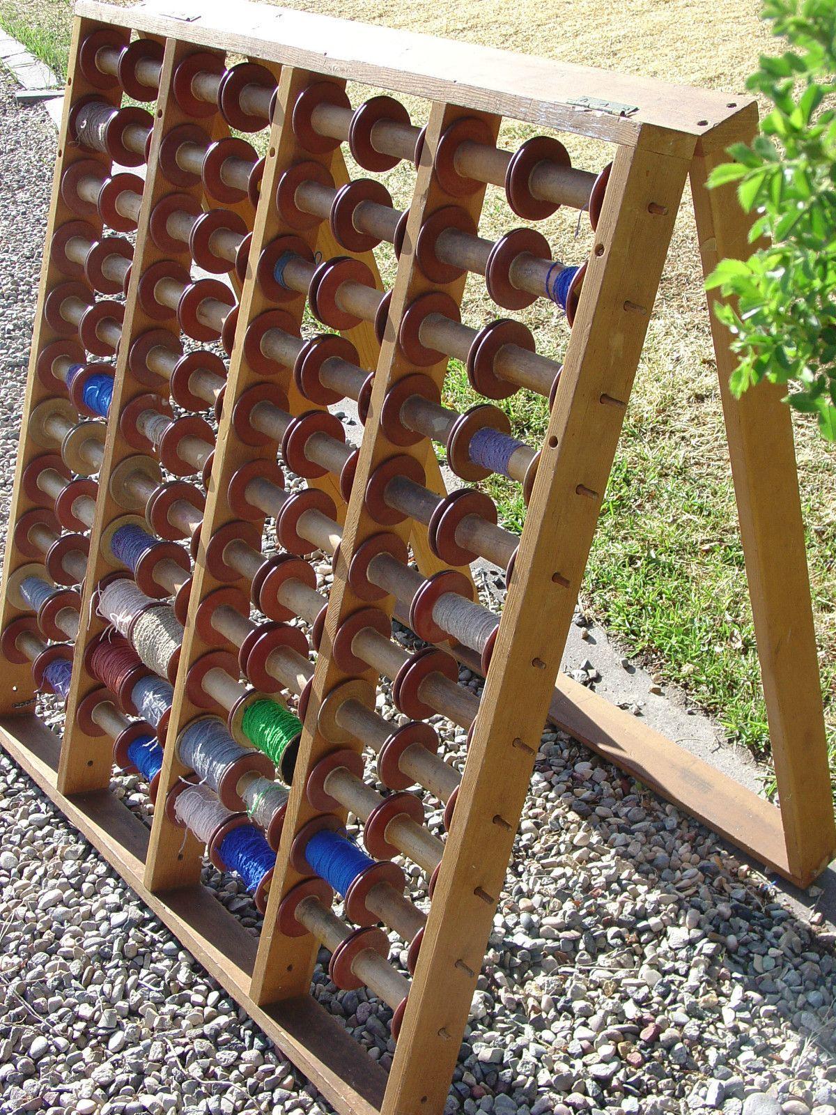 Vtg Hess Wooden Bobbin Spool Floor Rack Yarn Weaving Loom
