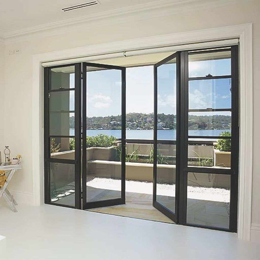 Modern french door with solid steel thin frame for easily for Exterior door with sliding window