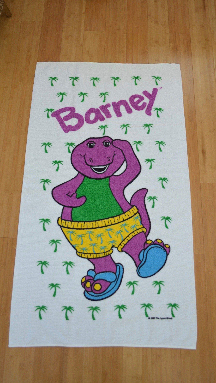 Vintage Barney Beach Towel Large Made In Usa Purple Dinosaur Bath