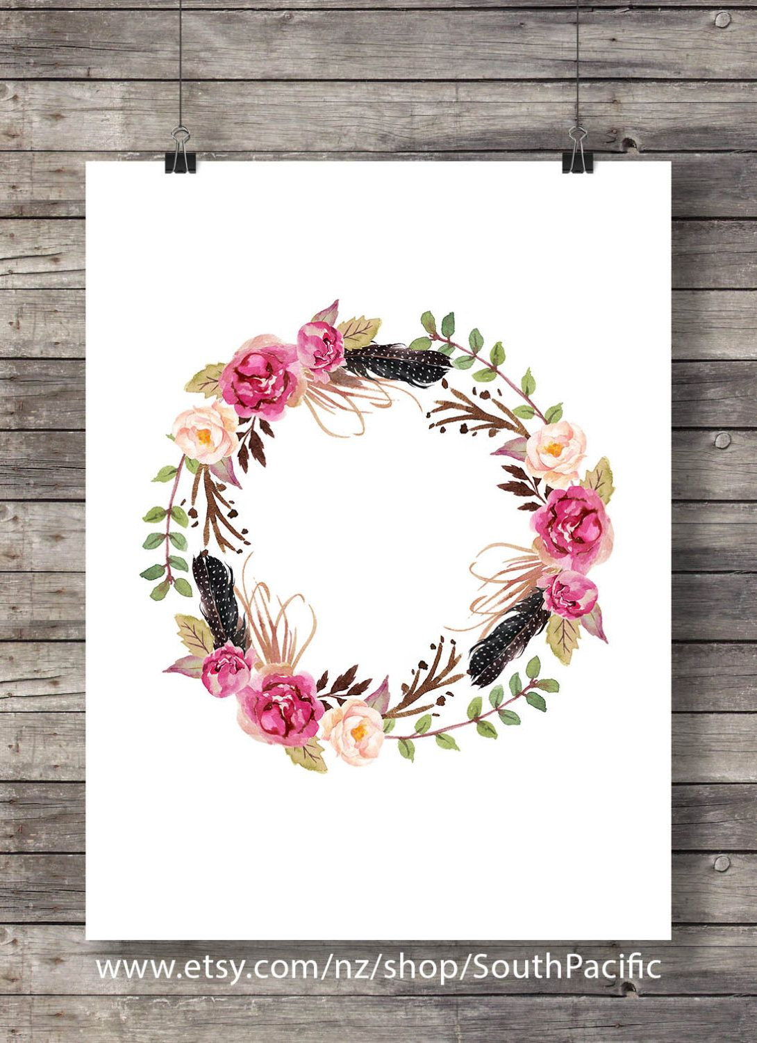 Watercolor flowers wreath print | Watercolor decor art print