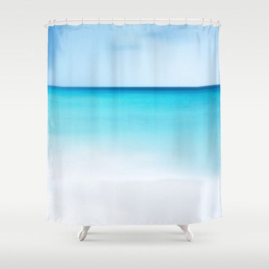 Ocean Shower Curtain Beach Shower Curtain Bathroom Aqua Blue Home Decor Nautical