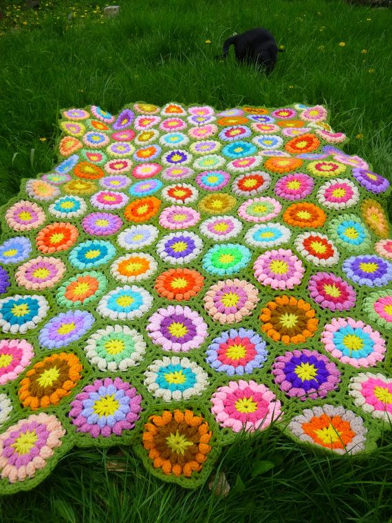 Vintage afghan, crocheted throw, circle pattern, bright colors ...
