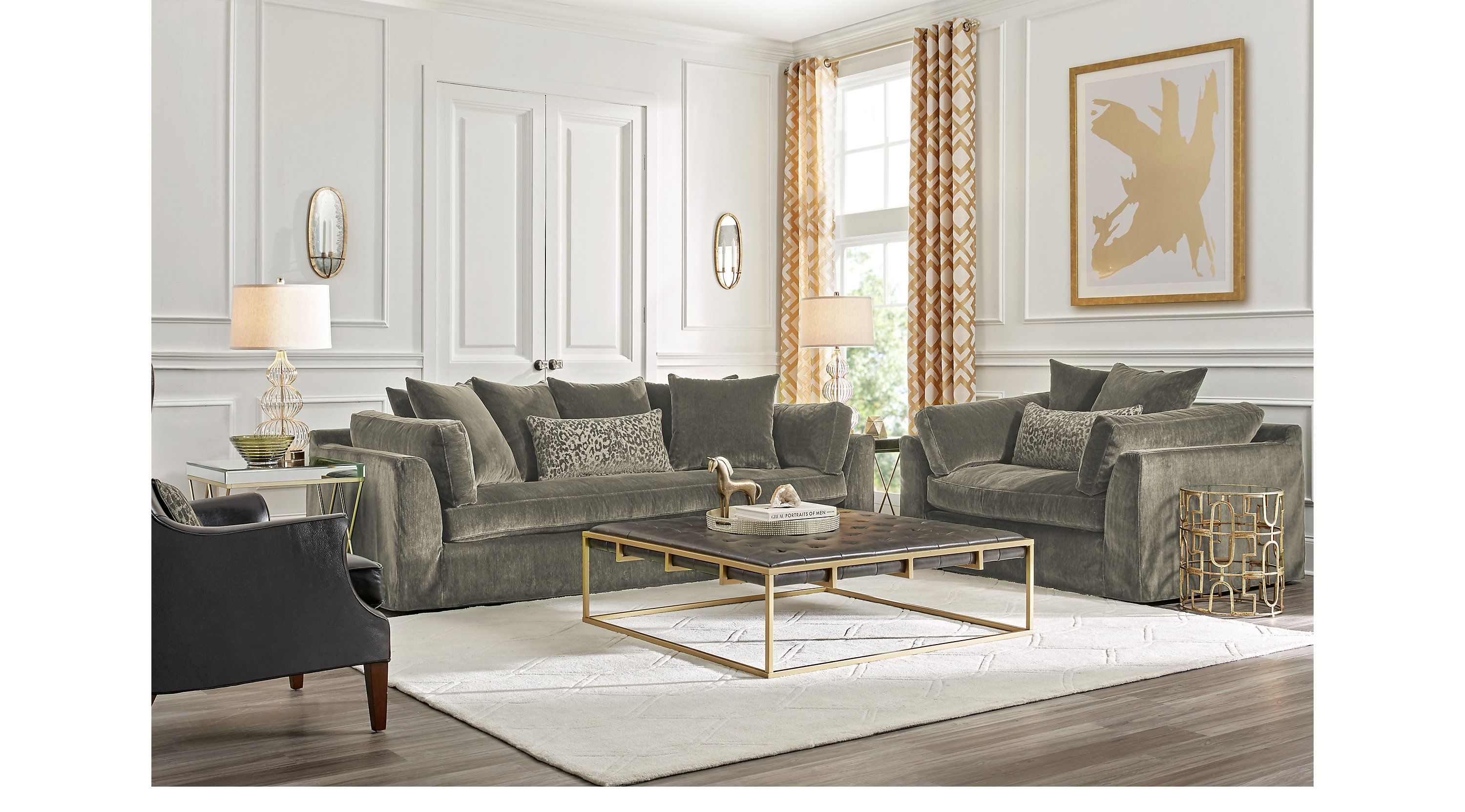 Raven Lane Gray 3 Pc Living Room   Living Room Sets (Gray)