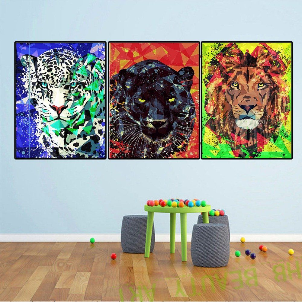 Paintings For Living Room Colorful Lion Tiger Animal Art Home Decor Wall Pictures For Living