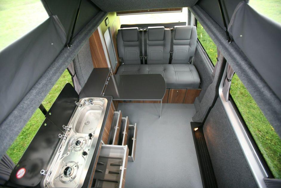walnut vw t5 interior grey seats VW T5 campers & bell