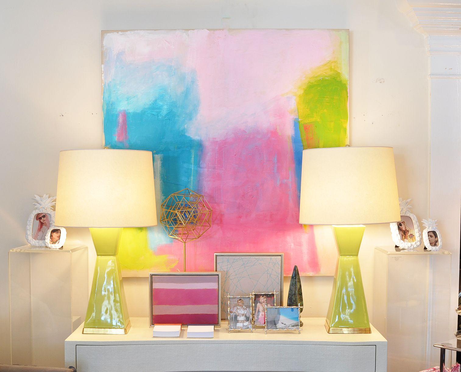 Springtime Leslie Milsten pastels at Mecox Palm Beach #interiordesign #home #decor #design #lighting #MecoxGardens
