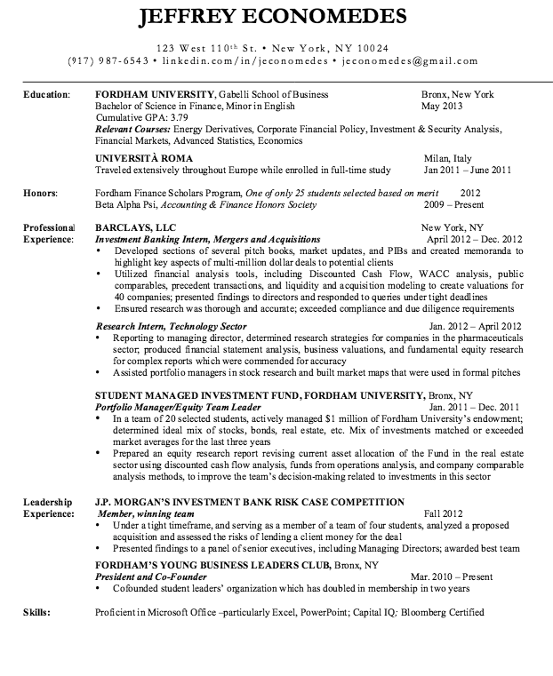 sample resume investment banking    resumesdesign